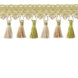 Tassel Trim Lime Green & Taupe