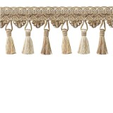 Tassel Trim Taupe & Cream