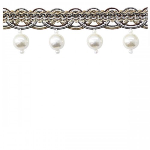 Pearl Fringe Chocolate & Silver