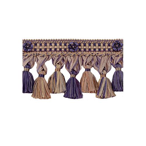 Exquisite Organdy Tassel Fringe 1879 Navy Taupe